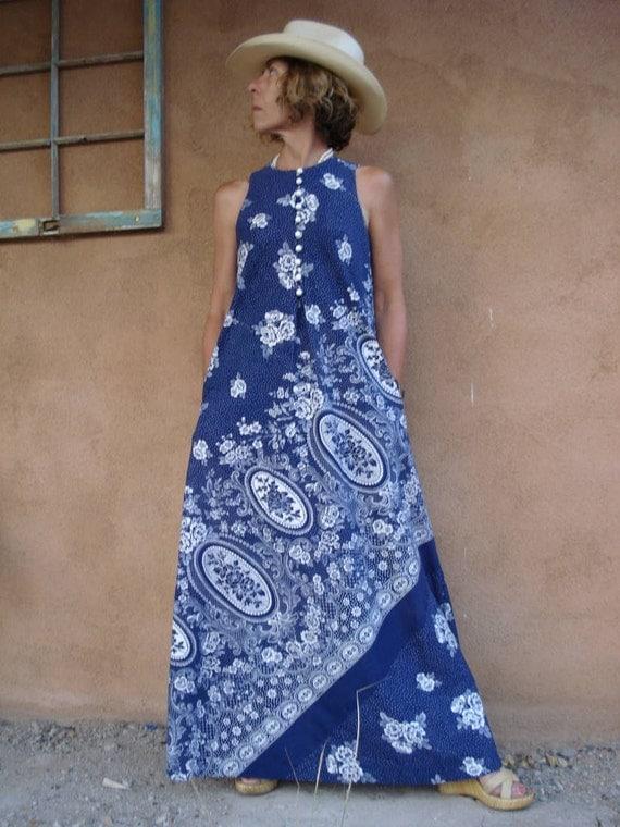 Vintage 1960s Maxi Dress Matisse Blue Trapeze 2012255