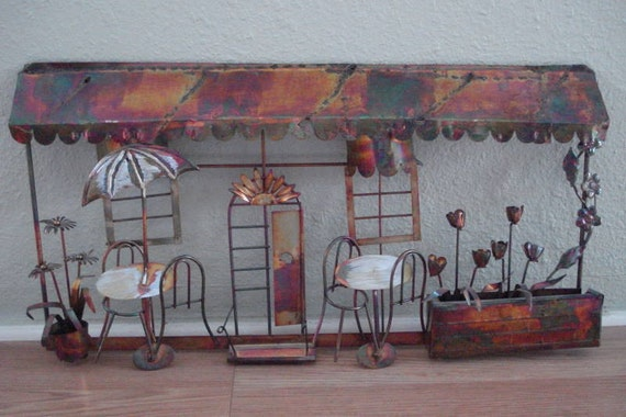 Eames Mid Century Metal Wall Sculpture Cafe and Flowers