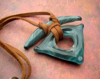 Tribal boro flameworked glass pendant