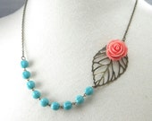 Aqua and Coral Wedding Flower and Leaf Necklace