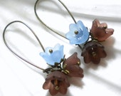 Brown and Blue Acrylic Flower Earrings