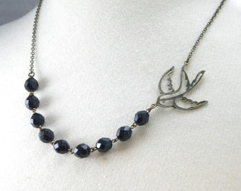 Black and Brass Swallow Necklace