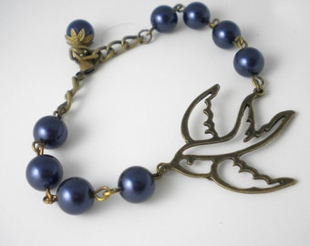 Navy Blue Pearl and Swallow Bracelet