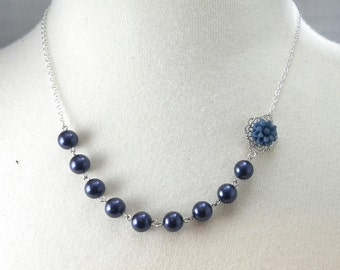 Navy Blue and Silver Flower Bridesmaids Wedding Necklace
