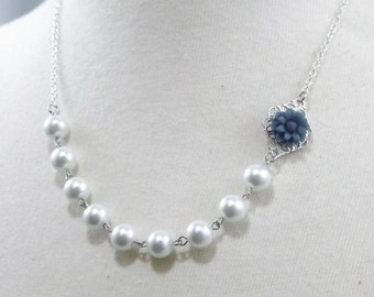 Navy Blue White and Silver Flower Bridesmaids Wedding Necklace