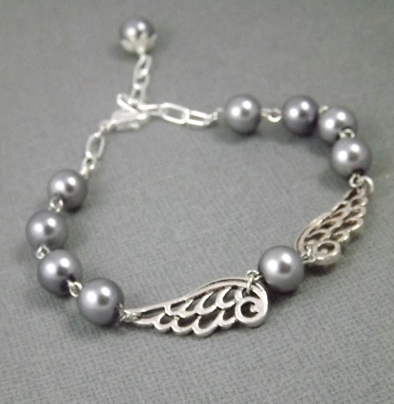 Charcoal Gray Pearl and Silver Angel Wing Bracelet