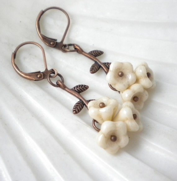 Ivory Flower and Copper Branch Earrings