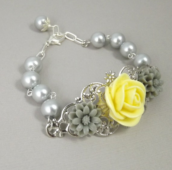 Yellow and Gray Silver Filigree Flower Bracelet