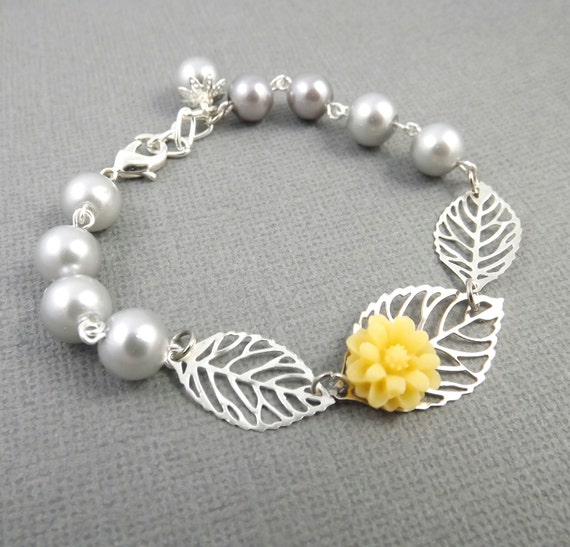 Yellow and Gray Silver Leaf and Flower Bracelet