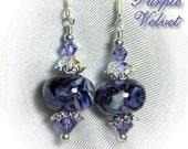 Purple Velvet Lampwork Glass Earrings BHV