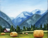 Little Farm in Pemberton, Original 6 x 6 Painting