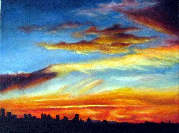 Vancouver Sunset - Original 12 x 9 Oil Painting