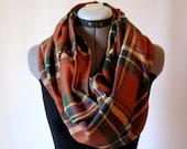 burnt orange unisex soft cotton flannel plaid circle infinity scarf