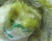 Drum Carded Art Batt  2.5 oz Prairie Grass lots of Goodies Added in For Spinning Art yarns, Felting, or Fiber Art