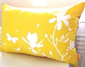 Limited Time Sale Yellow Magnolia and Butterflies Rectangle Pillow
