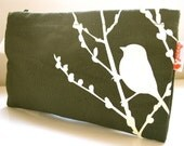 SALE Army Green Bird on Cherry Blossom Pouch