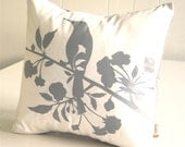 Grey Print on Off white Blooming Blossom-Mini 10.5 Inches Square Pillow