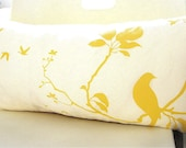 Limited Time Sale Yellow Print on Off white Flying By Rectangle Pillow