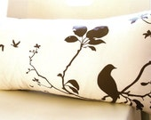 SALE Brown Print on Off white Flying By Rectangle Pillow