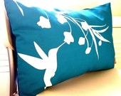 SALE-Teal Hummingbird with Eucalyptus Rectangle Pillow