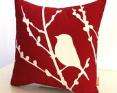 Red Bird on Cherry Blossom - Mini 10.5 Inches Square Pillow