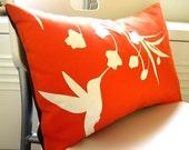 Orange Hummingbird with Eucalyptus Rectangle Pillow