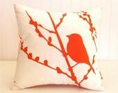 Orange Print on White Cotton Bird on Cherry Blossom - Mini 10.5 Inches Square Pillow