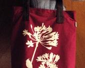 SALE Maroon Red Cardinal on Agapanthus Shoulder Tote Bag