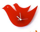 Red Mama and a Chick Hanging Clock