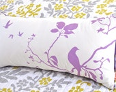 Limited Time Sale  Lavender Print on Off White Flying By Rectangle Pillow   READY TO SHIP