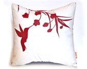 Red Print on White Cotton Hummingbird with Eucalyptus - Mini 10.5 Inches Square Pillow