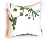 Olive Green Print on White Cotton Hummingbird with Eucalyptus - Mini 10.5 Inches Square Pillow