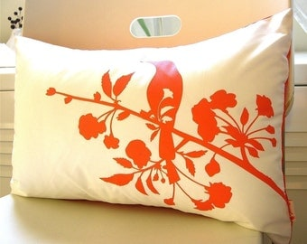 SALE Orange on Off White Blooming Blossom Rectangle Pillow