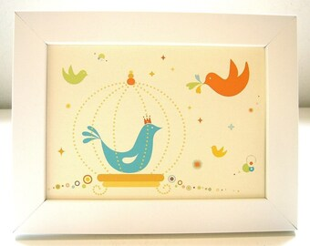 Framed Birdie Queen in the Cage Print
