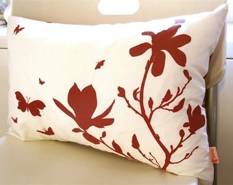 Limited Time Sale Red Print on Off White Cotton Magnolia and Butterflies Rectangle Pillow