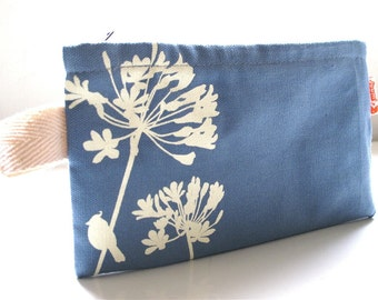 SALE Havelock Blue Cardinal on Agapanthus Pouch