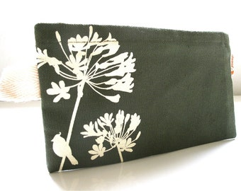 SALE Army Green Cardinal on Agapanthus Pouch