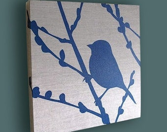 Navy Blue Print on Grey Silk Bird on Cherry Blossom Wall Art