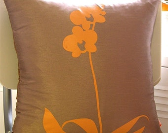 SALE Coffee Brown Orchid Pillow 17 Inches Square