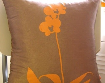 SALE Coffee Brown Orchid Pillow 17 Inches Square & Sleeping Beauty Couples Pillowcase Set Screenprint Pillowcase pillowsntoast.com