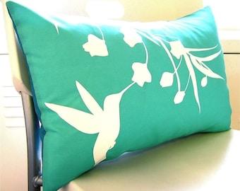 Limited Time Sale Mint Hummingbird with Eucalyptus Rectangle Pillow