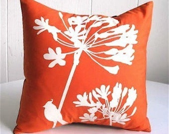 Orange Cardinal on Agapanthus-Mini 10.5 Inches Square Pillow
