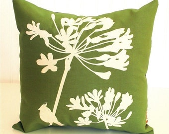 Olive Green Cardinal on Agapanthus-Mini 10.5 Inches Square Pillow