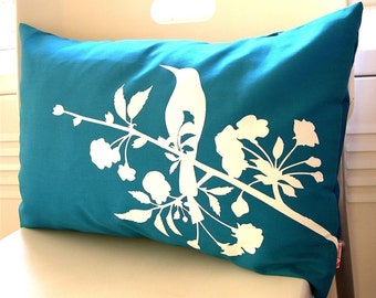 SALE-Teal Blooming Blossom Rectangle Pillow