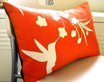Orange Hummingbird with Eucalyptus Rectangle Pillow