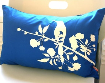 Cobalt Blue Blooming Blossom Rectangle Pillow
