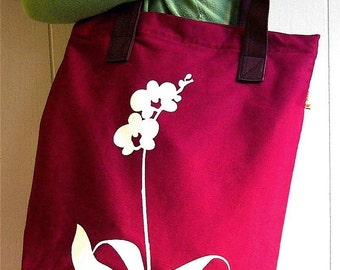 SALE Maroon Red Orchid Shoulder Tote Bag