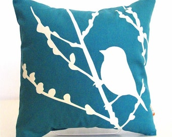 Teal Bird on Cherry Blossom - Mini 10.5 Inches Square Pillow