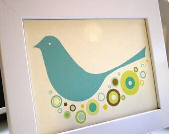 Framed Blue Birdie Print