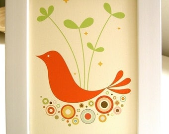 Framed Orange Tweetie Print